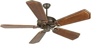 Craftmade K10935 Downrod Mount, 5 Ophelia Walnut/Vintage Madera Blades Ceiling fan, Aged Bronze Textured