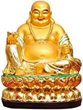Chinese Feng Shui Statues Gold Ingot Sitting Laughing Decor Handheld Buddha Used Best Gifts Congratulatory for Home Office...