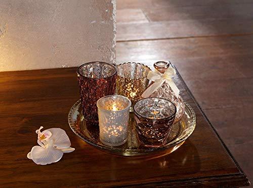 """6tlg. Deko Set """"Orient"""", Glastablett mit Windlichter-Gläsern und Vase, Teelichthalter"""