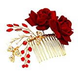 Timagebreze Peine del Pelo de Perla Nupcial de la Boda Tocado de Cristal de Rosa Roja Flor Hojas Accesorio para el Cabello Horquillas Peine