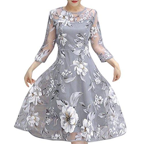 ESAILQ Damen Casual Lange Langarm Kleider mit Taschen(XL,Grau)