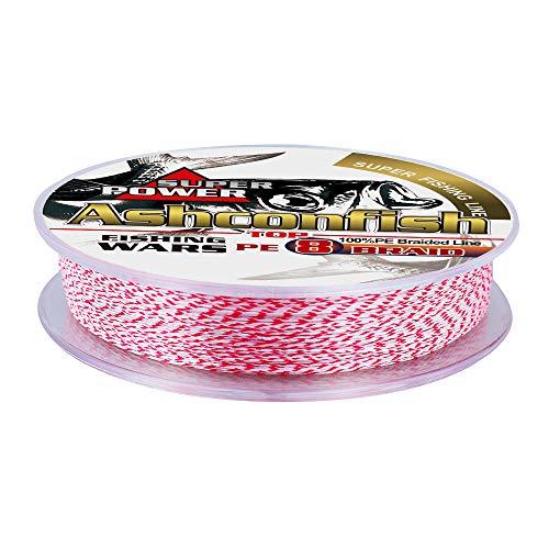 Ashconfish ライン 色落ちない 釣り糸 X8 100M 8本編み 1号~10号 8編 レッド&ホワイト