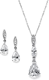 Platinum Plated Pear-Shaped CZ Bridal, Bridesmaids or Prom Necklace and Earring Set