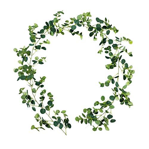 WOTEG Planta artificial, eucalipto artificial y sauce, guirnalda de eucalipto, viñas de eucalipto, hojas verdes, guirnalda para colgar en la pared de la boda, camino de mesa
