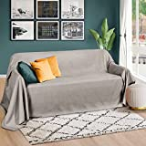 Beautissu Romantica Tagesdecke 210x280 cm - Wildleder-Optik Überdecke als Bettüberwurf und Sofaüberwurf Decke - Große Tagesdecken für Bett und Couch - Überwurfdecke in Hellgrau