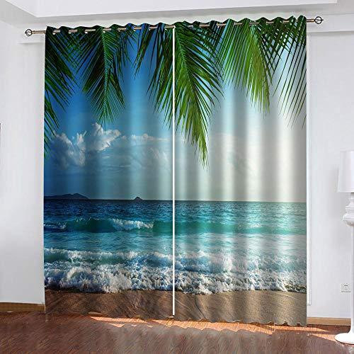 MXYHDZ Opacas Cortinas Dormitorio - Paisaje de Olas de Playa...