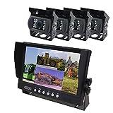 YATEK Set de cámara Marcha atrás y Monitor AHD de 9' + 4 cámaras 1080P visión Trasera para Aparcamiento