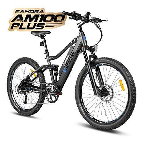 eAhora AM100 Plus 27.5 Inch Electric Mountain Bike Dual Hydraulic Brakes Full Air Suspension Electric Bicycle 48V 350W 10.4Ah Ebike Power Regeneration Tech 9 Speed Color Screen Blue