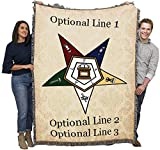 Order of The Eastern Star OES Masonic - Personalized - Cotton Woven Blanket Throw - Made in The USA (72x54)