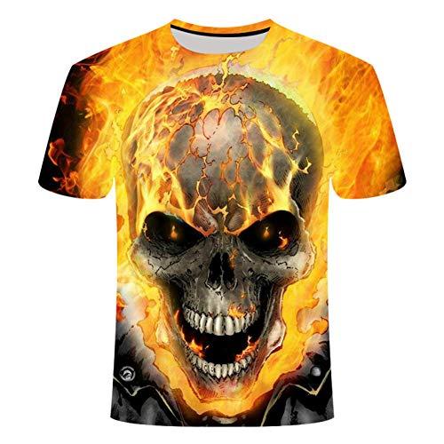 HYTR 3D Camisetas Summer Style 3D Camiseta Skull HD Print Camiseta Hombres Mujeres Camisetas De Manga Corta Ropa De Moda S-4Xl M