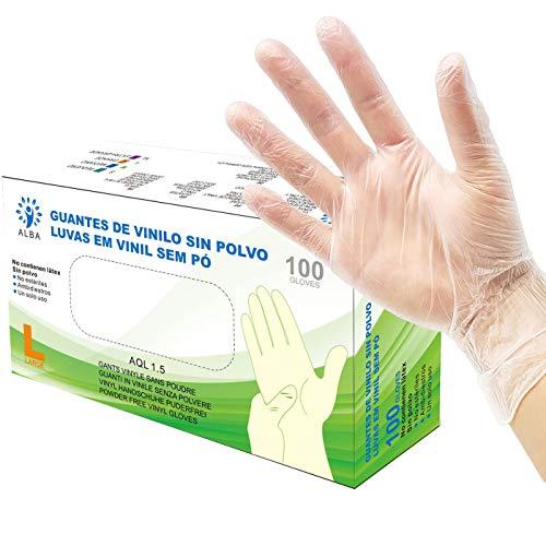 Vinylhandschuhe ohne Staub 100 Einheiten - Größe L - AQL 1.5 Recycelbare beidhändige Einweghandschuhe. Ideal für Lebensmittel, Reinigung, Heimwerker, Kosmetik, Industrie und Sanitär