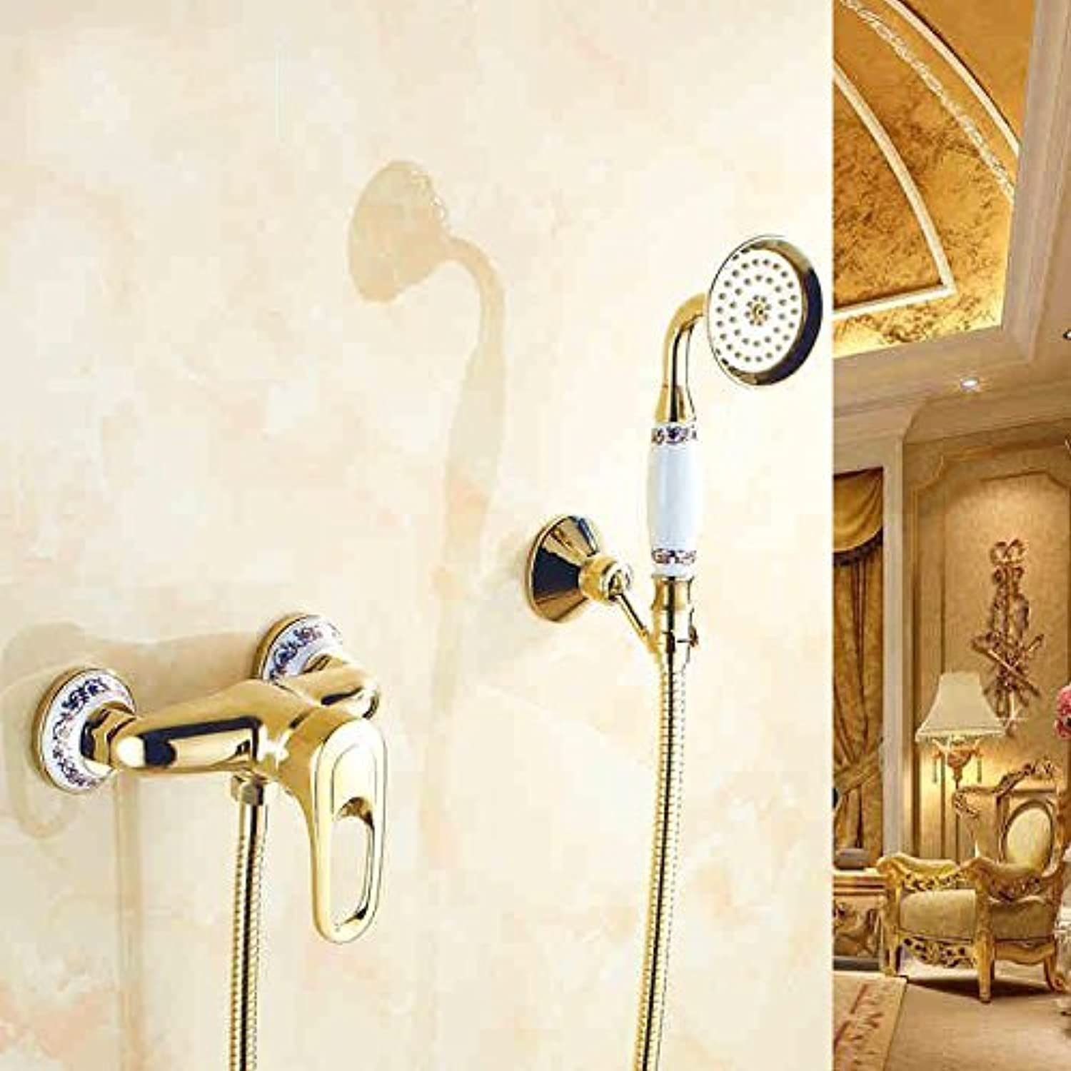To The timely Wall gold Plated bluee Copper White & Flower Shower Set