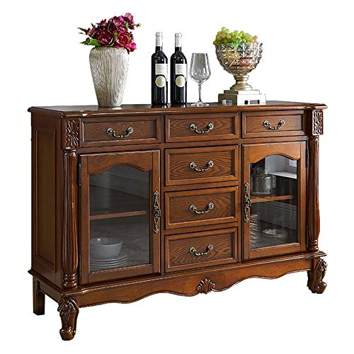 NBNBN Massives Holz Sideboard Holzakzent Kabinett Eingang Bar Lagerung Eingangstabelle Wohnzimmer Esszimmer Self-Service-Schließfach Multi Compartment Display (Farbe : Braun, Size : 110x39x86cm)