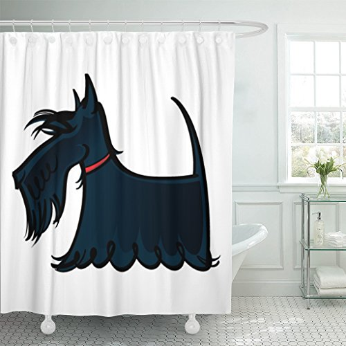 Emvency Shower Curtain Red Dog Scottie Scotland Breed Hair Long Animal Waterproof Polyester Fabric 72 x 72 Inches Set with Hooks