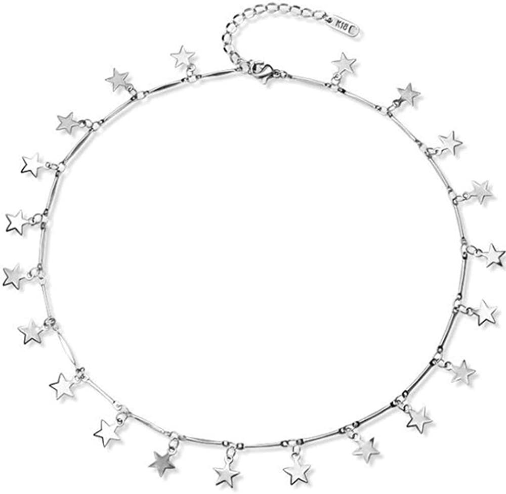 Jude Jewelers Stainless Steel Luck Stars Dainty Choker Necklace