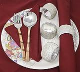 SKAVIJ Silber Glas Perlen Serviettenring-Set für Esstischdekoration Handgemacht (12 stück) - 2