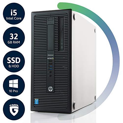 HP EliteDesk 800 G1 Tower | 3 Jahre Garantie | Intel Core i5 4690 bis 3.90 | 32GB RAM | 256GB SSD & 1TB HDD | DVD-RW | Win10 Pro | G Data Internetsecurity | Acronis True Image (Generalüberholt)