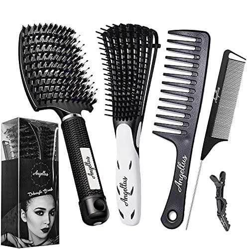 ✅ Brosse à Cheveux Démêlante - Brosse en Poils de Sanglier - Brosse pour Cheveux bouclés épais fins frisés - Peigne à dents larges - Peigne à Queue   Angellus