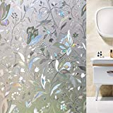 Window Privacy Film 3D Tulip Flower Window Sticker Rainbow Color Glass Film for Bathroom Home Office Removable Static Cling Door Window Covering Anti UV Window Decals (17.5'' X 78.7'')