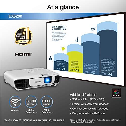 Epson EX5260 XGA 3,600 lumens color brightness (color light output) 3,600 lumens white brightness (white light output) wireless HDMI 3LCD projector Photo #4
