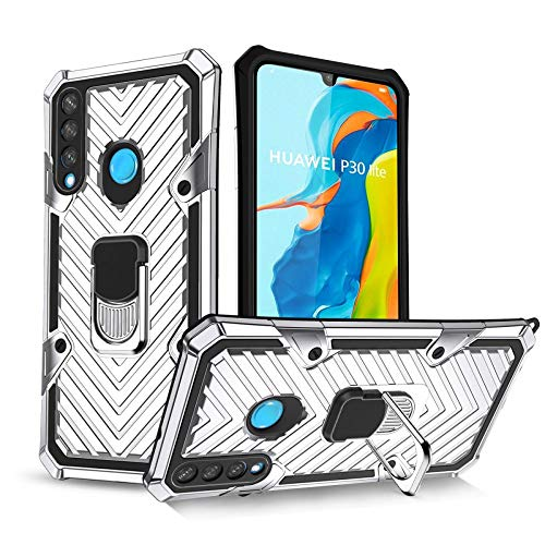 COOVY® Funda para Huawei P30 Lite/Nova 4E Funda PC + Silicona TPU Extra Fuerte, antigolpes, función Atril, Anillo de Soporte + Soporte magnético Compatible   Lata