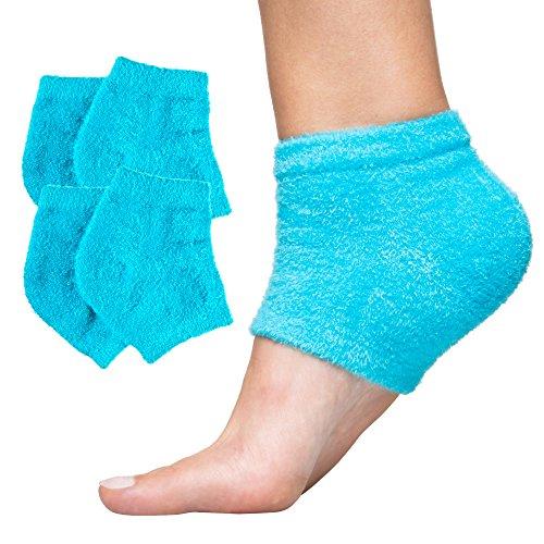 ZenToes Moisturizing Heel Socks 2 Pairs Gel Lined Fuzzy Toeless Spa Socks to Heal and Treat Dry, Cracked Heels While You Sleep (Regular, Blue)