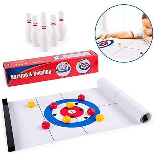 Lamlingo Tisch Curling Spiel,Shuffleboard-Tisch ,2in1-Tischspiele-Set Mit Curling,Familienspiele Für Indoor Home & Party, Puzzle Spaß Lernspiel Geschenk für Kinder und Erwachsene