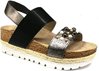 Ciabatte sanitarie comode Lina donna shoes aperte scarpe sandali pelle blu 35