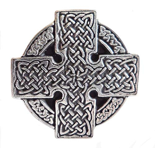 Celtic Knotwork Wheel Cross Pin Badge - Hand Made in Cornwall, England in Solid Pewtere