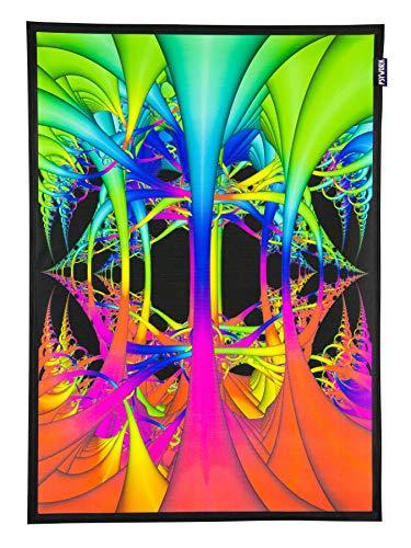 PSYWORK Blacklight stoffen poster Neon Wired Dimension, 0,5×0,7m