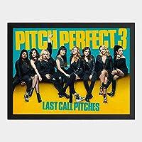ハンギングペインティング - ピッチパーフェクト 3 Pitch Perfect 3のポスター 黒フォトフレーム、ファッション絵画、壁飾り、家族壁画装飾 サイズ:33x24cm(額縁を送る)