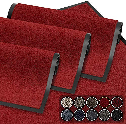GadHome Fußmatte Rot 60x90 cm|Eingangstürmatte wasserdicht waschbar strapazierfähiger Schmutzfänger | Rutschfester Schmutzfängerfußmatte für Haustür, Flur, Eingang, Küche, Schlafzimmer