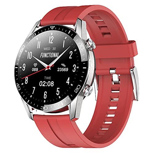 QFSLR Reloj Inteligente Smartwatch con Monitor De Frecuencia Cardíaca Llamada Bluetooth Monitor De Presión Arterial Monitoreo De Oxígeno En Sangre Control De Música IP68 Impermeable,Rojo