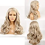 Ivan Cosmetic Transparent lace Platinum gold and Blonde Mix Color Long Body Wave Wig Glueless Lace Front Heat Resistant Wig With Baby Hair Pre Plucked Hair Middle Parting 24inch For ALL Skins Women.