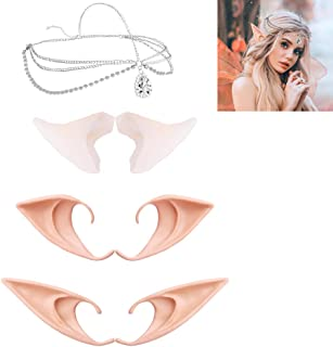 ONESING 7 Pcs Latex Elf Ears Vampire Ears Soft Pointed Goblin Ears Fairy Pixie Ears Dress Up Costume Cosplay Halloween Party Props