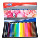 Coloured Pencils, Box of 36 Colours Professional Colouring Pencils for Adults, Colourful Pencils in Tin Box for Children, Coloring Pencils for Drawing, Painting, Vibrant Coloured Pencils for Artists