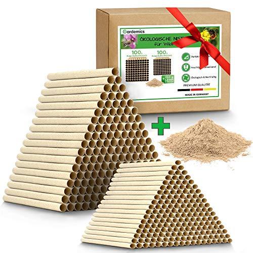!NEU! Pappröhrchen für Insektenhotel - Ökologische Nisthilfe für Wildbienen inkl. gratis Lehm - 200 Nisthröhren mit Ø 6 & 8mm - Super Bausatz für Bienenhotel - Made in Germany