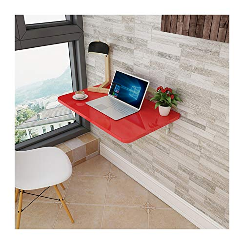 YAYADU-Storage Basket Wall-mounted Desk, Folding Table, 2.5cm Thick Mdf 60kg Capacity Smooth Surface Easy to Clean for Bedroom, Kitchen, Balcony (Color : Red, Size : 100x40cm)