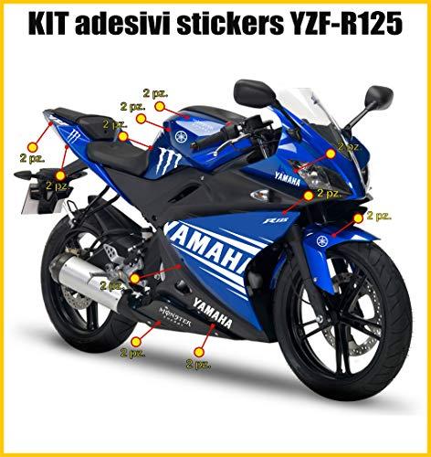 Adesivi Stickers YZF R125 MONSTER grafica completa -scegli colore- cod.0033 (010 BIANCO)