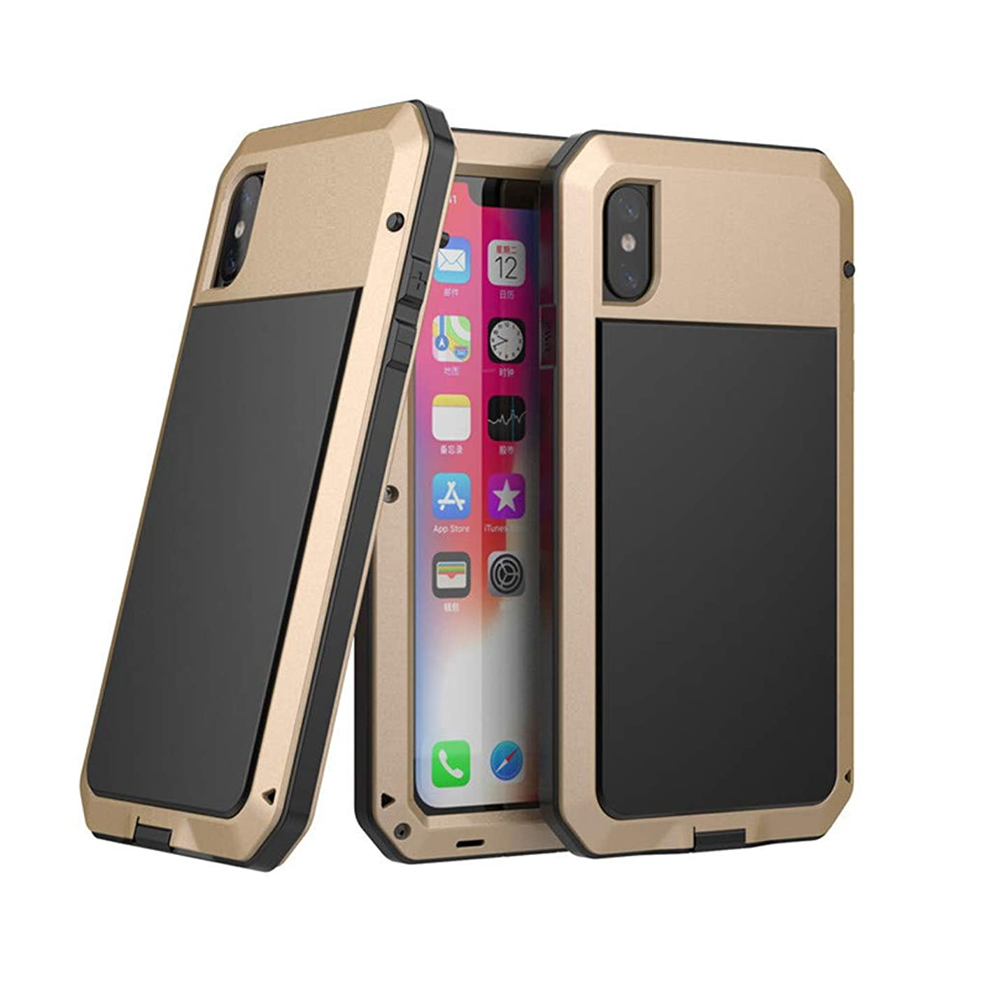AutumnFall 360° Full Body Protective Tough Rugged Hybrid Waterproof Case Fashion Phone Case for iPhone Xs Max (Gold)