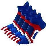 Panegy 4 Paires Chaussettes à Orteils Séparés Homme Invisibles Chaussette Doigt de Pied Socquettes à Doigts Doux pour Randonnée Bleu+Rouge