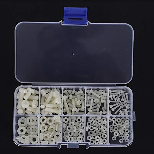 Tuerca de tornillo de nailon negro/blanco con tornillo cruzado redondo de 270 piezas, suministros industriales para usos múltiples(White 270pcs nylon screw set)