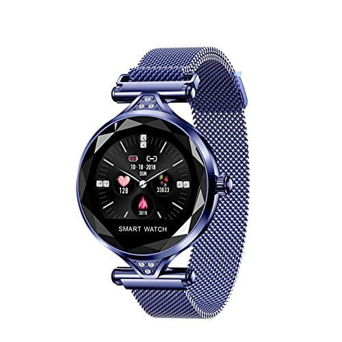 WSJZ Reloj Inteligente H1,Pulsera Inteligente A Prueba De Agua IP67,Pantalla Táctil Redonda Monitor De Actividad Física con Frecuencia Cardíaca,para iPhone/Android,Diseñado para Mujeres,Azul