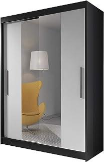 MEUBLO Armoire, Penderie avec 2 Portes coulissantes (L x H x P): 150x200x61 LARA 01 (Noir + Blanc)