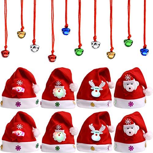 BBTO 8 Stück Weihnachten LED Licht Samt Weihnachtsmann Mütze, Seil und 10 Stück Kling Glöckchen für Weihnachten Party Lieferungen (Erwachsene Größe)