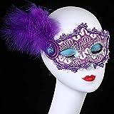 GRXIN Venecia Princesa Encaje Media Cara Lateral Pluma Máscara Cosplay Mascarada Media Cara Máscara Femenina,A