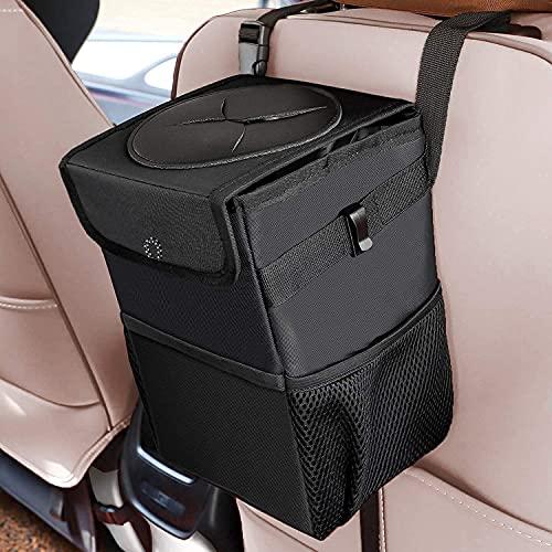 Car Trash Can with Lid and Storage Pockets - Waterproof Car Trash Bag Hanging, 100% Leak-Proof Automotive Garbage Can, Multipurpose Car Trash Bin