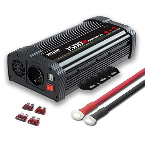 NDDI Wechselrichter 1500W Auto Spannungswandler, 12V DC auf 230V AC Autokonverter Ladegerätadapter mit Zwei 3.1A USB Anschlüssen und Wechselstromsteckdosen Schnellladung