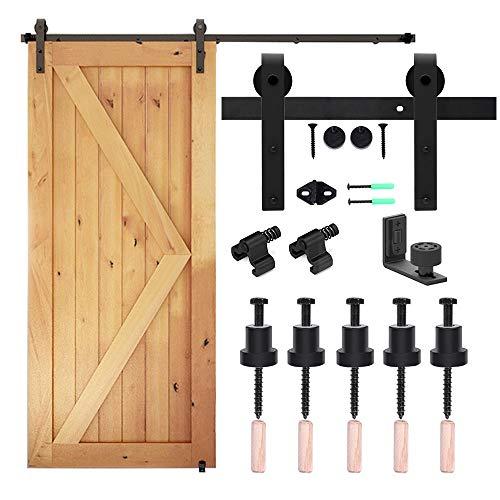 CCJH 6.6FT/2M Herraje para Puerta Corredera Kit de Accesorios para Puertas Correderas, Contiene Guía de suelo ajustable