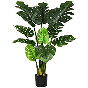 Artificial Monstera Deliciosa Plant 43″ Fake Tropical Palm Tree,Artificial Plant for Home Garden Office Store Decoration (1PACK)
